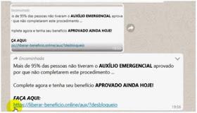 Um golpe está sendo aplicado por whatsapp prometendo o desbloqueio imediato do auxílio emergencial